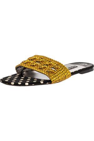 Gina Metallic Black Leather And Yellow Crystal Embellished Slide Flats Size 40