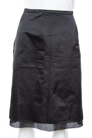 CH Carolina Herrera Black Satin Silk Pleat Underlay Skirt L