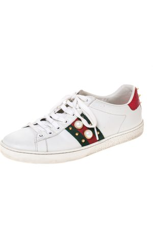 Gucci White Leather Ace Web Embellished Low Top Sneakers Size 37