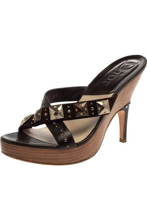 Dior Christian Brown Studded Leather And Suede Cross Strap Wooden Platform Mules Size 39