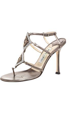 Jimmy Choo Metallic Bronze Leather Meira Crystal Embellished Sandals Size 37