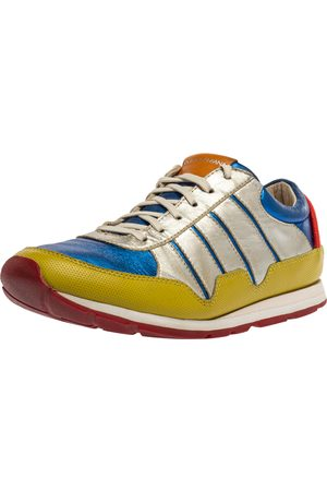 Dolce & Gabbana Multicolor Leather Parkour Low Top Sneakers Size 39