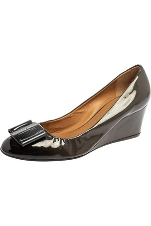 Salvatore Ferragamo Two Tone Patent Leather Wedge Pumps Size 38