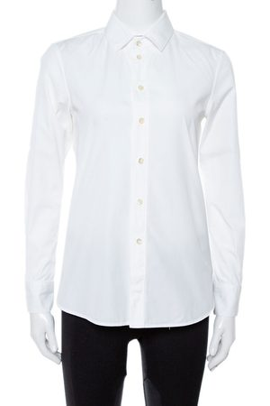 Saint Laurent White Cotton Long Sleeve Shirt S