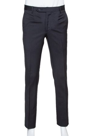 Dolce & Gabbana Black Pinstriped Wool Tailored Pants XS