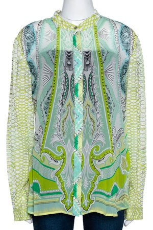 Roberto Cavalli Light Green Printed Silk Sheer Long Sleeve Shirt L