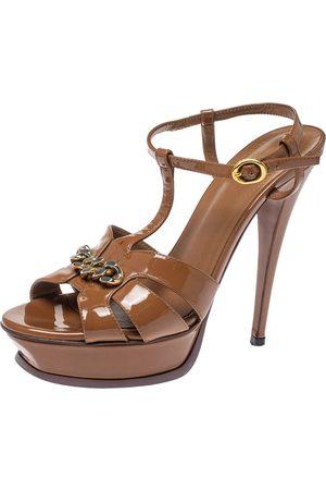 Saint Laurent Brown Patent Leather Tribute Chain Detail Platform Sandals Size 39