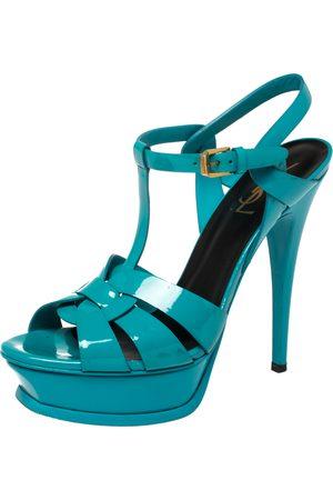 Saint Laurent Saint Laurent Teal Patent Leather Tribute Platform Sandals Size 38.5