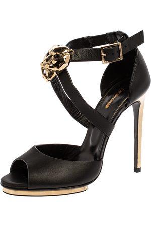 Roberto Cavalli Black Leather Lion Head Embellished Ankle Strap Sandals Size 36.5