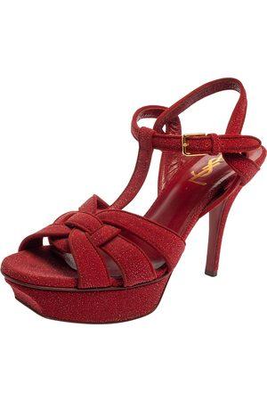Saint Laurent Saint Laurent Red Suede and Glitter Tribute Platform Sandals Size 37