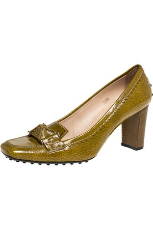 Tod's Yellow/Green Patent Leather Square Toe Loafer Pumps Size 39.5