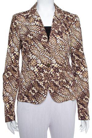 Roberto Cavalli Brown Printed Cotton Blazer L