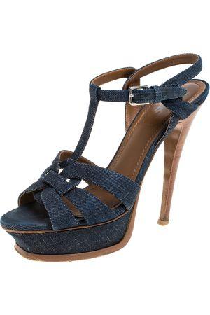 Saint Laurent Saint Laurent Navy Blue Denim and Leather Tribute Platform Sandals Size 36.5