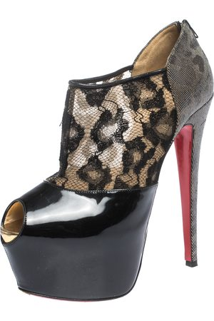 Christian Louboutin Black Leopard Print Lame Fabric and Patent Leather Aeronotoc Peep Toe Platform Booties Size 38