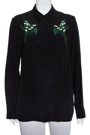 Stella McCartney Black Silk Embroidery Detail Button Front Shirt M