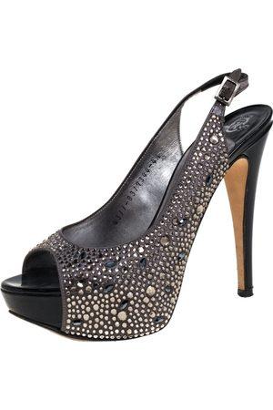Gina Grey Satin Crystal Embellished Peep Toe Platform Slingback Sandals Size 37.5