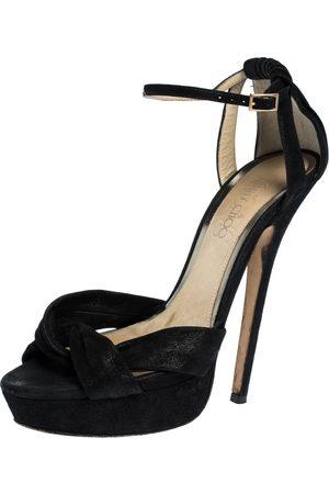 Jimmy Choo Black Suede Leather Marion Platform Ankle Strap Sandals Size 38