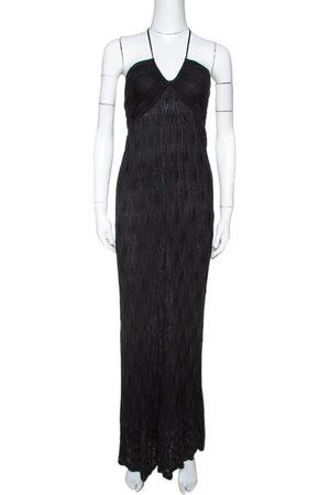 M Missoni Black Chevron Knit Halter Dress M