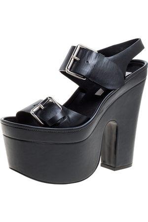 Stella McCartney Black Faux Leather Buckle Block Heel Platform Sandals Size 38