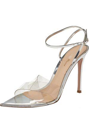 Gianvito Rossi Giavanto Rossi Metallic Silver Leather And PVC Plexi Stark Sandals Size 39