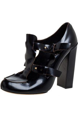 Chloé Black Leather Buckle Block Heel Pumps Size 39