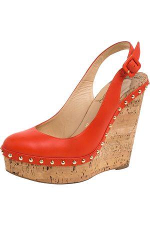 Christian Louboutin Orange Leather Monico Cork Wedges Sandals Size 38.5