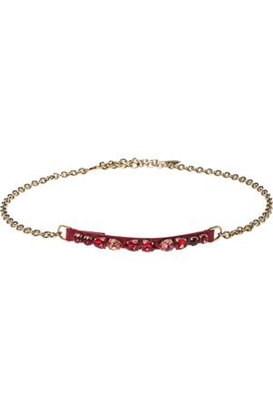 Dolce & Gabbana Red Leather Resin Crystal Gold Tone Chain Belt M
