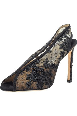 Jimmy Choo Black Lace and Suede Shar Slingback Sandals Size 36.5