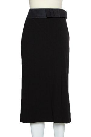 Armani Black Wool Bow Detail Midi Skirt M