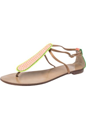 Giuseppe Zanotti Tricolor Leather And Glitter Embellished Thong Flat Sandals Size 41