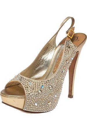Gina Beige Satin Crystal Embellished Platform Peep Toe Slingback Sandals Size 37
