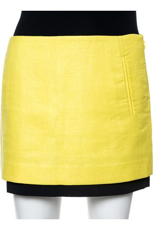 Diane von Furstenberg Yellow Coated Raffia Elley Mini Skirt S