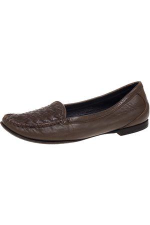 Bottega Veneta Olive Green Intrecciato Leather Loafers Size 38.5