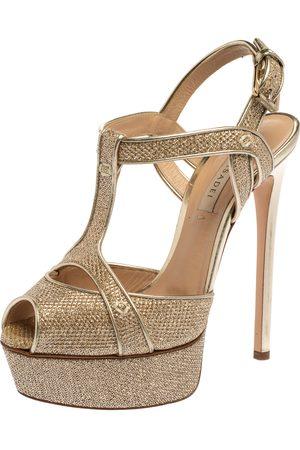 Casadei Metallic Golden Gliiter Fabric Taglia T-Strap Peep Toe Platform Sandals Size 36