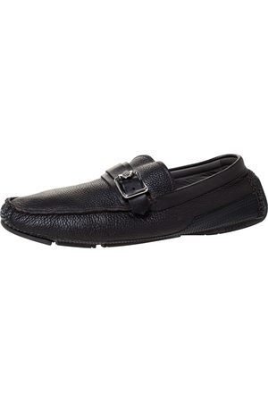 VERSACE Black Leather Buckle Detail Slip On Loafers Size 43