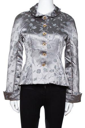 Emporio Armani Sage Green Floral Jacquard Button Front Jacket M