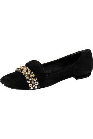 LOUIS VUITTON Black Suede Jeweled Smoking Slippers Size 39