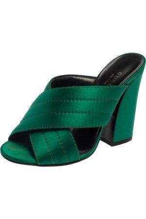 Gucci Green Satin Crisscross Mule Sandals Size 35.5