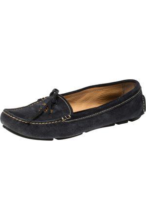 Prada Indigo Suede Bow Loafers Size 37.5