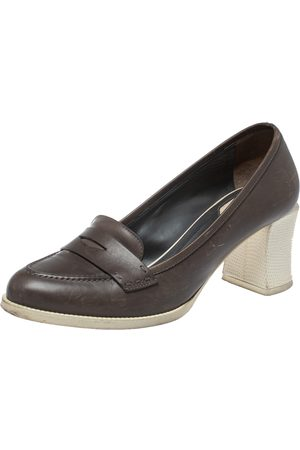 Fendi Brown Leather Karung Accented Penny Loafer Pumps Size 37.5