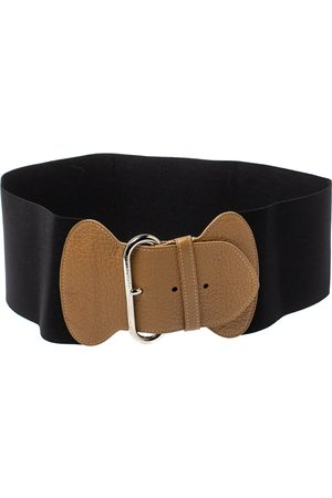 Dolce & Gabbana Black/Beige Elastic Band And Leather Waist Belt 90 CM