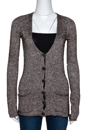 Emporio Armani Brown Mohair Blend Marl Knit Cardigan L