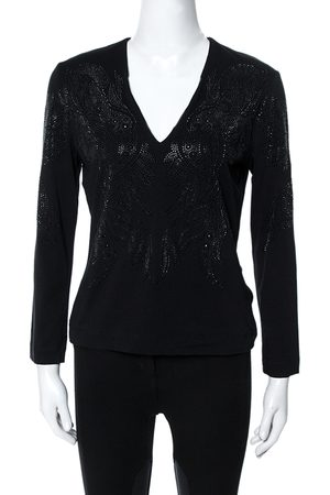 Roberto Cavalli Black Crystal Embellished Long Sleeve Top L