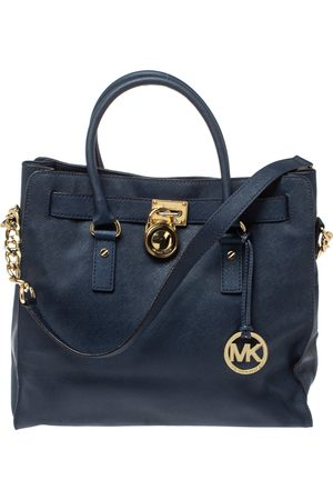 Michael Kors Navy Blue Leather Large Hamilton North South Tote