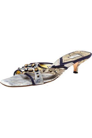 Prada Tri Color Suede and Snakeskin Embellished Slide Sandals Size 37.5