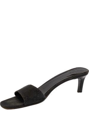 Gucci Dark Blue Monogram Canvas Slide Sandals Size 41