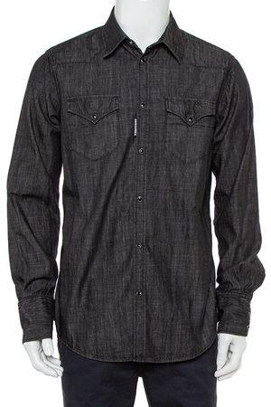 Dsquared2 Black Denim Pocket Detail Long Sleeve Shirt XL