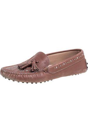 Tod's Blush Pink Leather Tassel Embellished Loafers Size 39