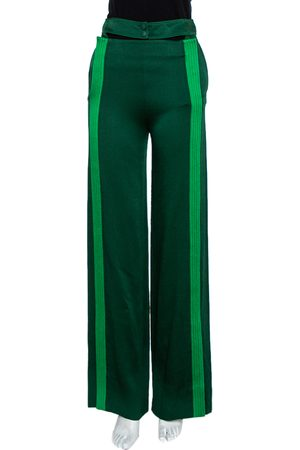 VALENTINO Green Satin Jersey Contrast Detail Wide Leg Pants S