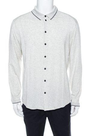 Armani Light Grey Jersey Button Front Long Sleeve Shirt 3XL